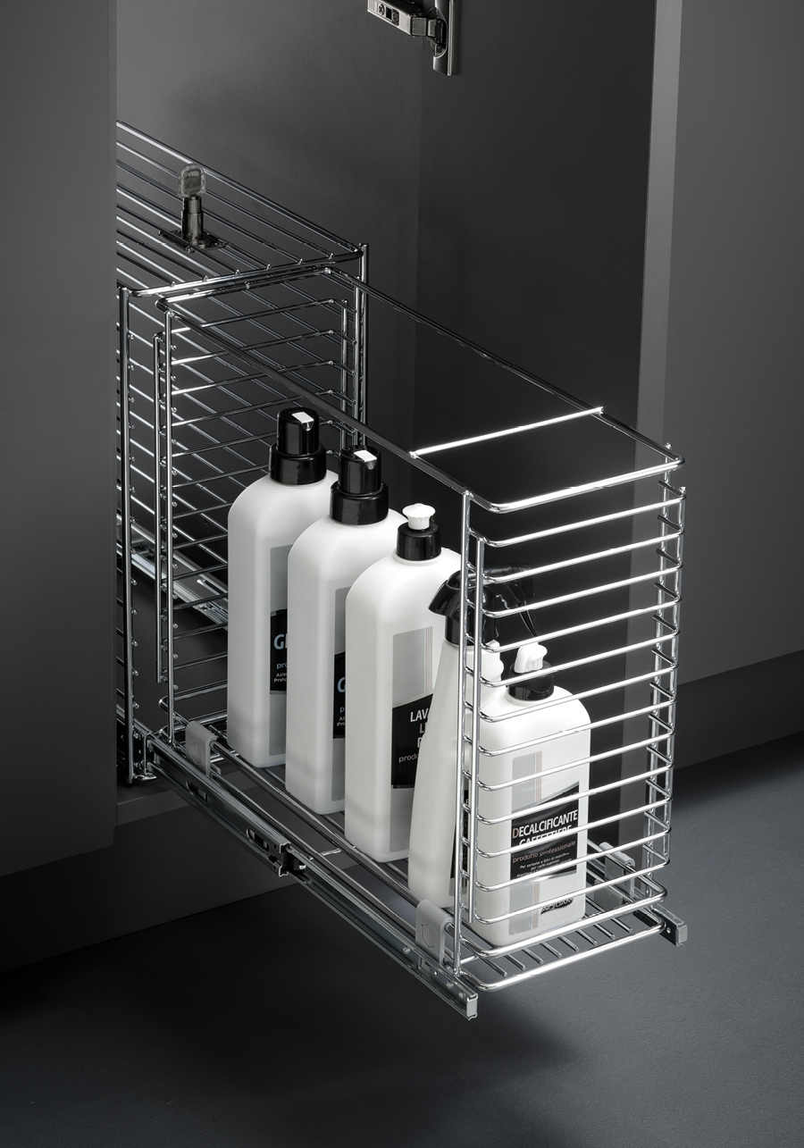 Estraibile base porta detersivi cp140 vibo accessori in filo metallico per cucine - Porta detersivi ...